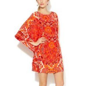 Trina Turk 100% Silk Flutter Sleeve Kimono Dress